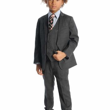 Appaman Boys' Charcoal Wales Check Mod Suit