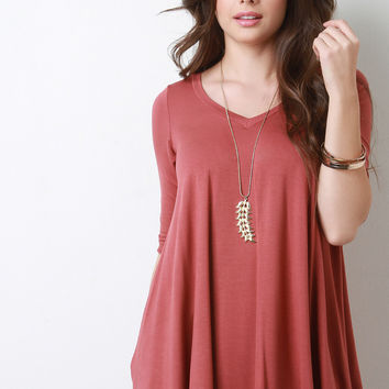 V-Neck Half Sleeve Trapeze Top