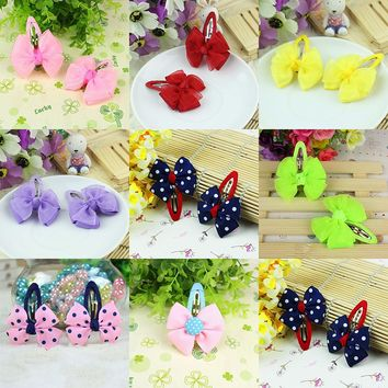 1pcs New Fashion Girls Hair Accessories Candy Color Dot Bow Hairpins Cute Baby Headwear Bowknot Hair Clip Children Headdress