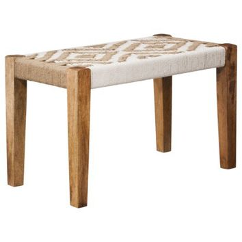 """Threshold™ Woven Cotton and Jute Bench - 28x15x17"""""""