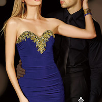 Alyce Paris 4384 - Purple Beaded Ruched Jersey Prom Dresses Online