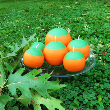 Pumpkin soy ball candles, orange and green soy ball candles scented with Autumn Leave, a set of three fall ball candles