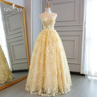 QSYYE Ball Gown Long Prom Dresses 2018 Elegant Sweetheart 3D Floral Flowers Lace Floor Length Evening Dress Party Gown