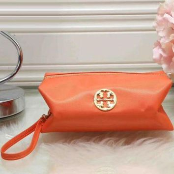 Tory Burch Women Trending Fashion Contracted Leather Zipper Wallet Purse Orange G