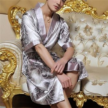 Men Summer Nightgown Half Sleeve Lapel Silk Pajamas Japanese Kimono Lacing Robe Bathrobe Satin Long Plus Size XL-2XL Resilient