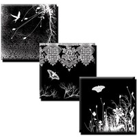 Nature on Black collage sheet - 1 inch squares