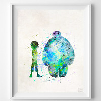 Big Hero Print, Hiro Baymax Art, Type 3, Disney Poster, Wedding Gift, Office Decor, Nursery Poster, Artwork, Dorm Decor, Halloween Decor