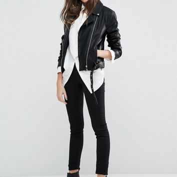 Vila Faux Leather Biker Jacket at asos.com
