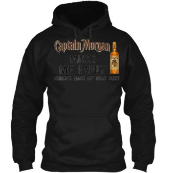 Captain Gift Morgan makes me happy humans make my head hurt Pullover Hoodie 8 oz
