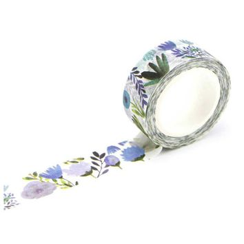 1.5cm Wide Luxuriant Flowers Washi Tape Adhesive Tape DIY Scrapbooking Sticker Label Masking Tape Dai purple