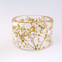 Yellow  Botanical Resin Bangle  Chunky by SpottedDogAsheville