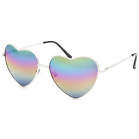 Full Tilt Rainbow Heart Aviator Sunglasses Silver One Size For Women 25387314001