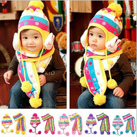 Supernova Sales Infant hat cute handmade knitted Warm Crochet Hat + Scarves = 1958108292