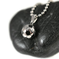 Soccer Ball Necklace Stainless Steel - Football Pendant Stainless Steel - Sports Stainless Steel Pendant - Football Soccer Ball Jewelry