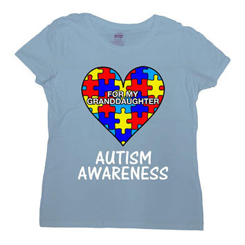 Autism Grandma Shirt Grandpa Gifts For Support T Shirt Autism Speaks Puzzle Piece Special Needs Autism Heart TShirt Mens Ladies Tee - SA1048