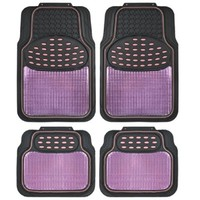 BDK Real Heavy Duty Metallic Rubber Mats for Car SUV and Truck (Pink Black) - All Weather Protection, Trimmable