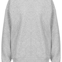 Contrast Ribbed Panel Sweat by Boutique - Grey Marl
