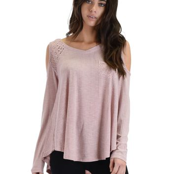SL3760 Pink Long Sleeve Ribbed Top With Cold Shoulder And Lace Contrast