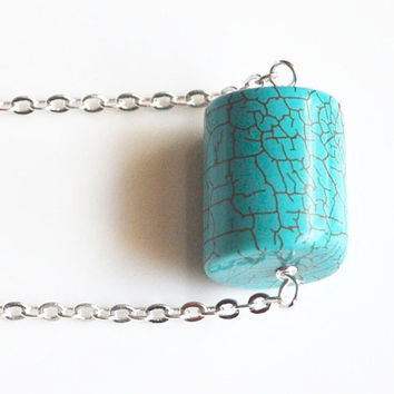 Christmas in July. Turquoise  Necklace. Blue Cylinder  Pendant. Turquoise and Silver Chain
