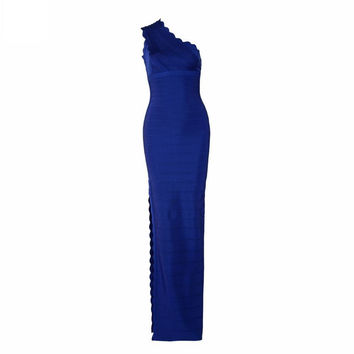 Royal Blue Petal Cut Bandage Maxi Dress