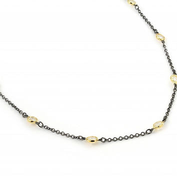 """.925 Sterling Silver Nickel Free 4mm Bezel Cubic Zirconia By The Yard Black Rhodium And Gold Plated 2 Tone Necklace 24"""""""""""