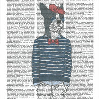 Dressed up Boston Terrier Dictionary Art Print on Upcycle Vintage Page Book Print Art Print Dictionary Print Collage Print