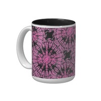 Pink and Black Starburst Print Coffee Cup
