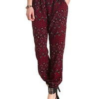 Drawstring Tribal Print Jogger Pants