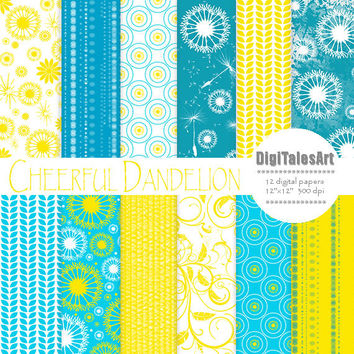 "Floral digital paper ""Cheerful Dandelion"" flower digital clip art papers in blue, yellow, patterns, download, floral background"