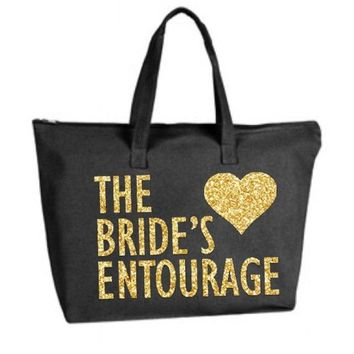 Gold silver or your choice Glitter color The Bride's Entourage Black Large Tote Bag zipper closure Bridesmaid Bridal Wedding Bachelorette