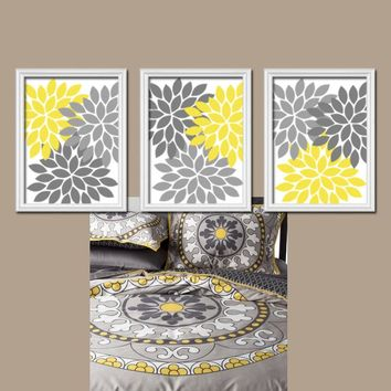 Yellow Gray Flower Wall Art, CANVAS or Prints, Bedroom Pictures, Bathroom Decor, Flower Burst Petals, Yellow Gray Nursery Decor Set of 3