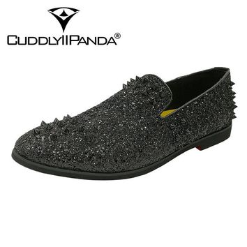 CUDDLYIIPANDA 2018 Spikes Rivet Shoes Rhinestones Glitter Men Loafers Smoking Slipper Casual Shoes Wedding Dress Men's Sneakers