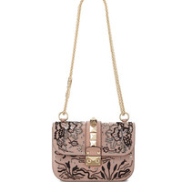 Valentino Lock Small Beaded Floral Shoulder Bag, Light Pink
