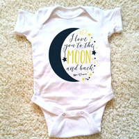 I love you to the moon and back baby Onesuit for baby girls, available in sizes newborn, 6 months, 12 months, 18 months graphic baby Onesuit