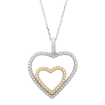 Rhodium And Gold Plated Sterling Silver, Open Double Heart White CZ Pendant On Chain