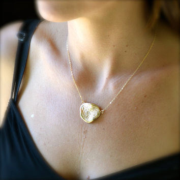 Gold Necklace With Large Textured Pendant by illuminancejewelry