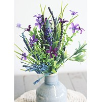 "Silk Lavender and Fern Bundle in Purple - 14"" Tall"
