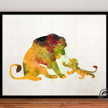 Lion King Disney Poster, Mufasa Simba Print Watercolor, Baby Shower, Illustration Art, Watercolour Painting, Giclee Wall, Nursery Room, Fine