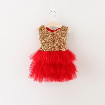 Toddler Girl Dress Gold Sequins Kids Ceremonies Little Dresses For Girls Infant Party Wear Baby Girl 1 2 Years Birthday Outfits