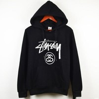 Stussy classic Stussy parade couple sweater color sweater men and women with the same paragraph round neck head Black Hoodie