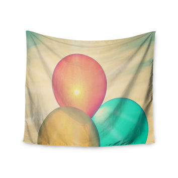 "Robin Dickinson ""Balloons"" Tan Clouds Wall Tapestry"