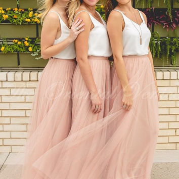Two Piece Blush Pink Bridesmaid Dress with White Top Sexy V-neck Tulle Long Junior Brides Maid Dresses Free Shipping