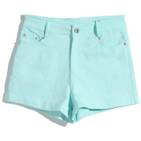 ROMWE | Rolled Cuffs Mint Shorts, The Latest Street Fashion