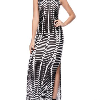 Streetstyle  Casual Remarkable Side Slit Printed Round Neck Maxi Dress