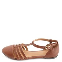 Qupid Cap-Toe T-Strap Flat Sandals by Charlotte Russe - Rust