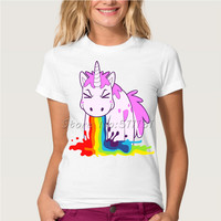Newest Funny Unicorn Rainbows T-Shirt Summer Harajuku Cartoon T Shirt Womens Fashion Novelty Short Sleeve Tee Tops Clothes