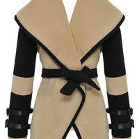 Turn-Down Collar Color Blcok Belt Coat