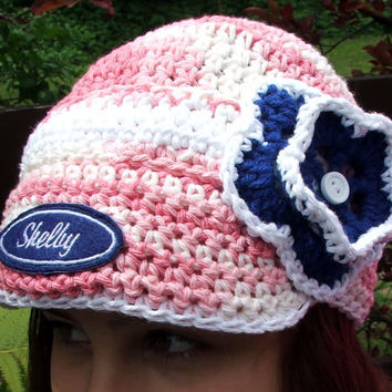 Crochet Shelby Mustang Inspired Hat. Ford. Made by Bead Gs on ETSY. Ladies Size or Teen. Pink and Blue.