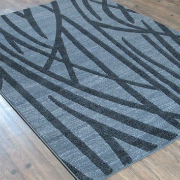 """Silver Grey Black Large Mid-Century Modern Faux Wool Area Rug Exact Size 5'4"""" X 7'5"""""""