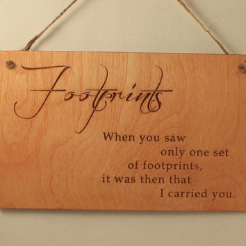 Footprints sign Footprints in the Sand Wood sign Laser cut Laser engraved Wood saying Wood quote Small sign Christian gift Free shipping